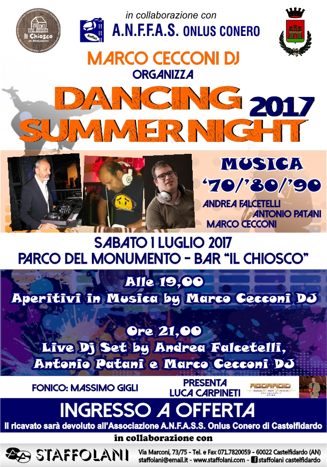 DANCING SUMMER NIGHT 2017 – MUSICA `70/`80/`90