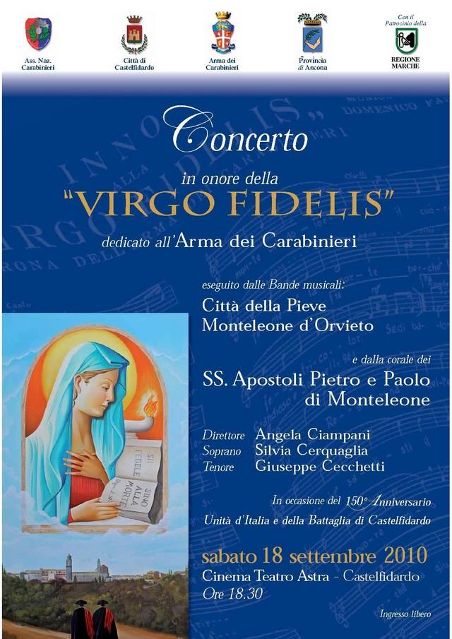 """Concerto in onore della """"Virgo Fidelis"""""""