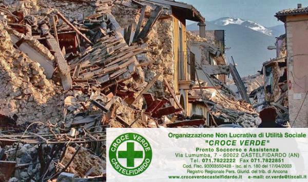 Croce Verde: raccolta per i terremotati