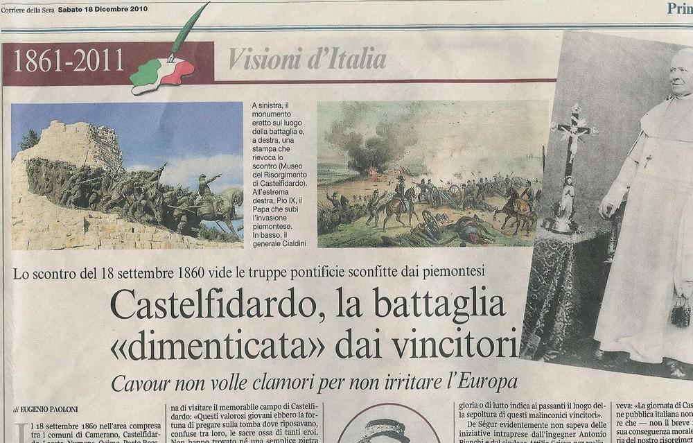 Una pagina del Corriere della Sera sulla Battaglia