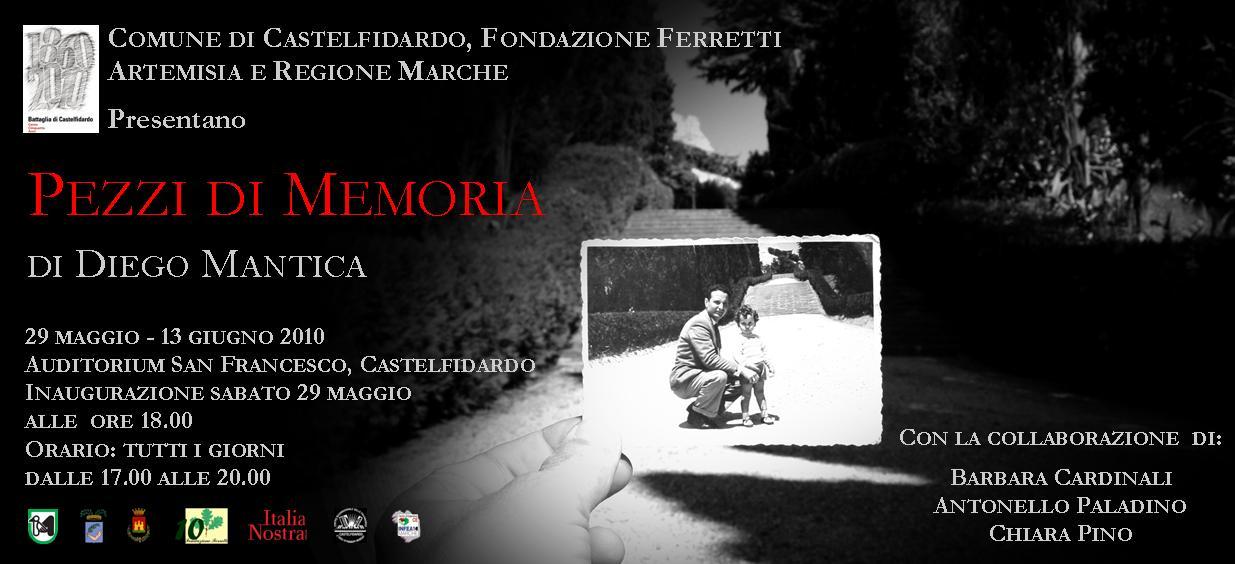 """""""Pezzi di memoria"""", opere di Diego Mantica in mostra"""