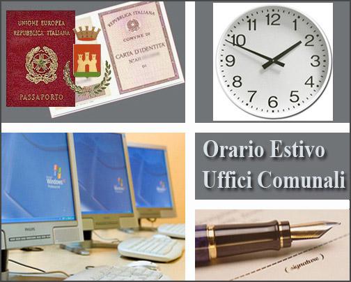 Orari estivi di apertura al pubblico uffici comunali