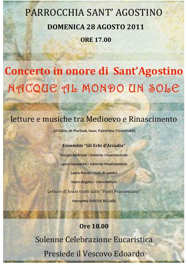 """""""Nacque al mondo un sole"""", concerto per Sant`Agostino"""