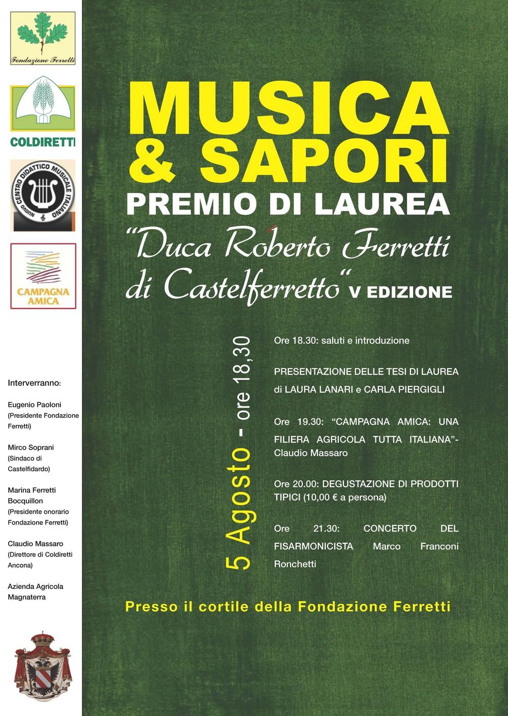 Musica&Sapori, consegna del Premio Ferretti