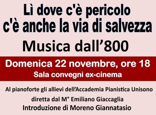 Concerto di Santa Cecilia domenica in sala convegni