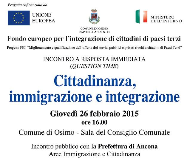 Incontro su Cittadinanza, immigrazione e integrazione