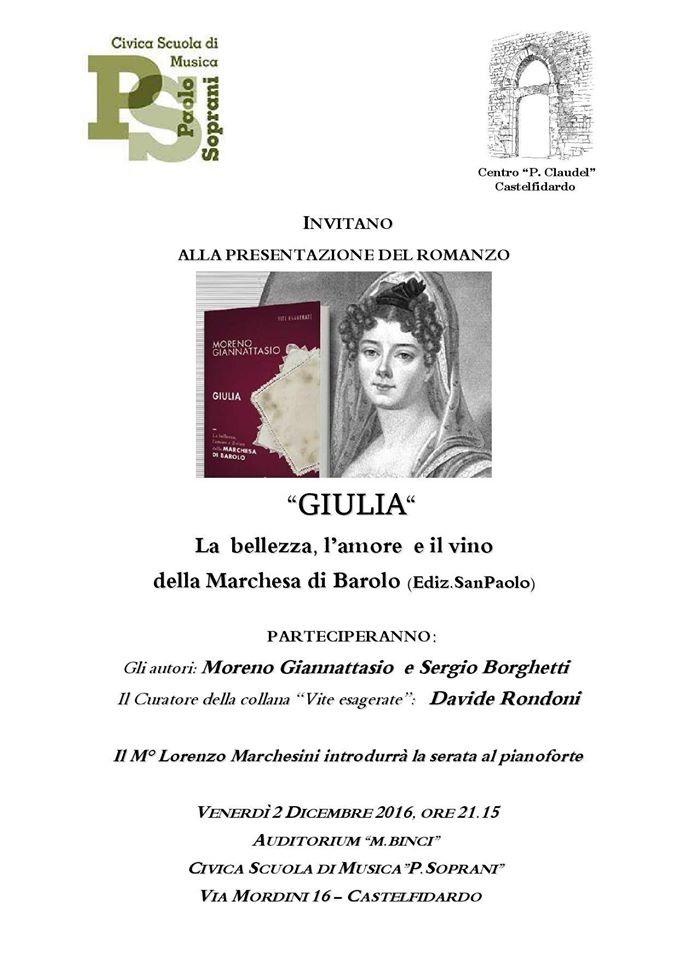 """""""Giulia di Barolo"""", serata con gli autori e Rondoni"""