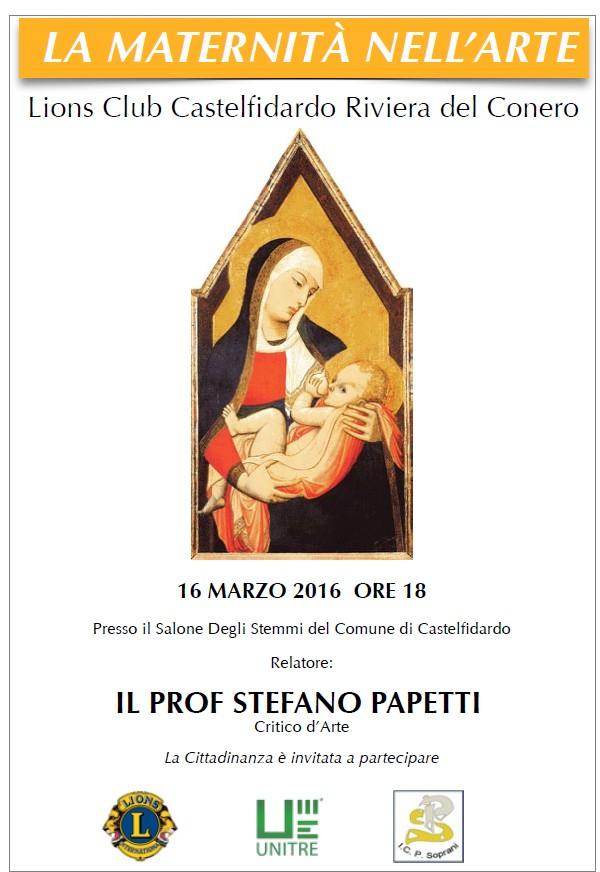 La maternità nell`arte, incontro col prof. Papetti