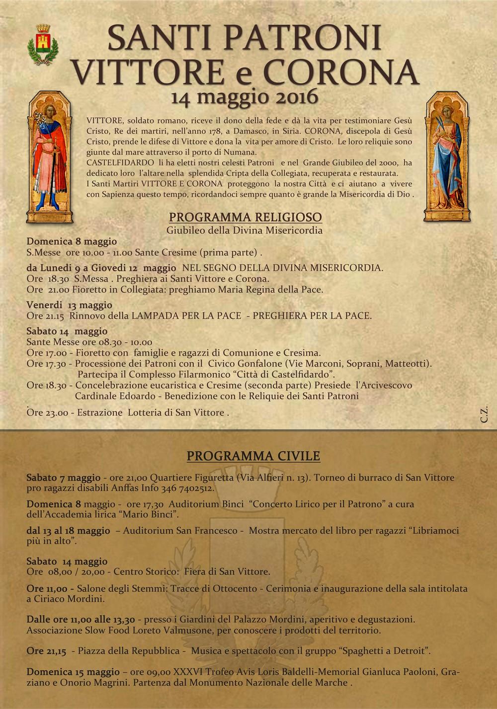 Celebrazione dei Santi Patroni, tutto il programma