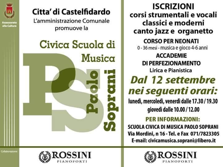 Civica scuola di musica, iscrizioni da lunedì 12