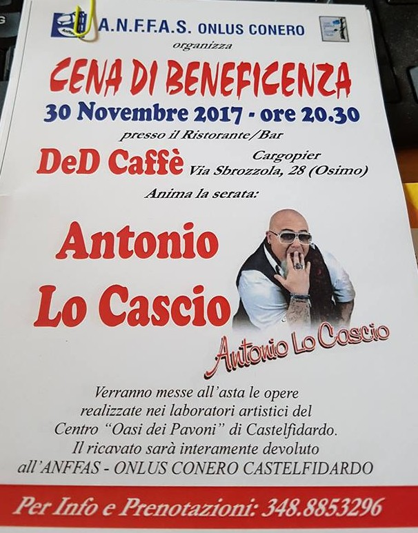 Anffass, cena di beneficenza con Antonio Lo Cascio