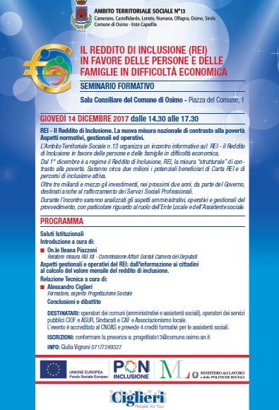 Reddito di inclusione, seminario formativo