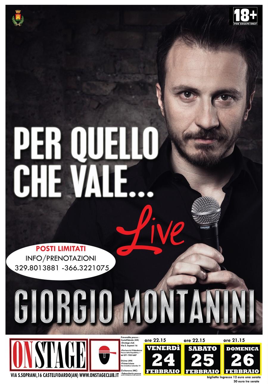 On Stage, tre serate con Giorgio Montanini