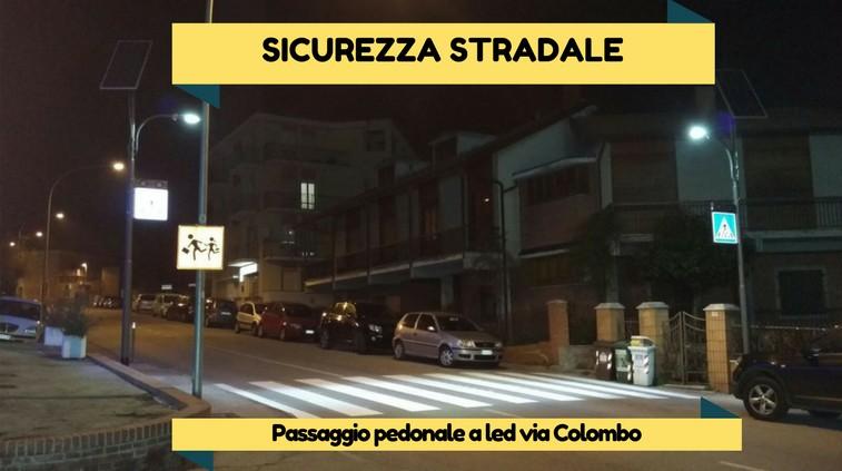 Passaggi pedonali a led in via Colombo