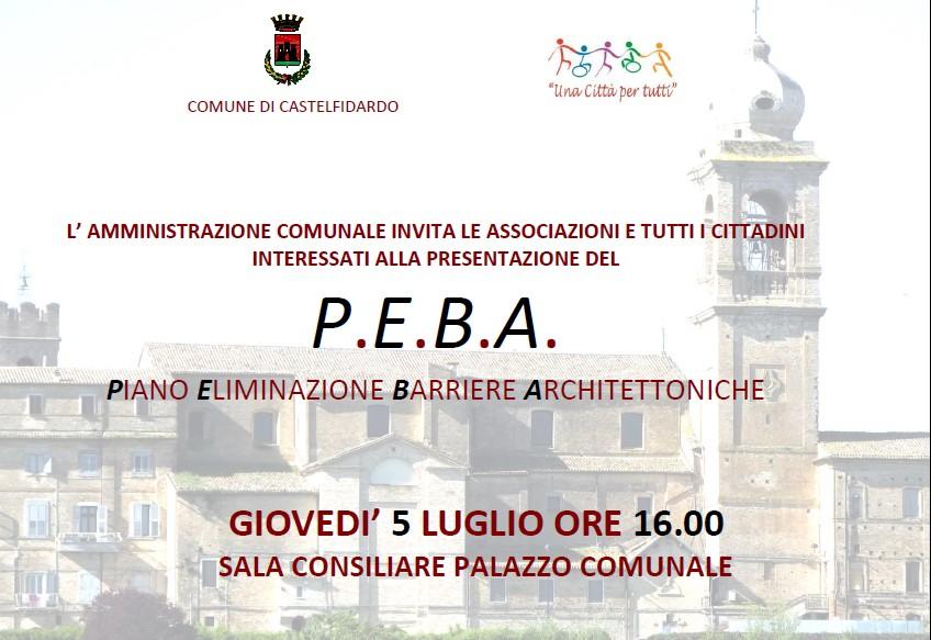 P.E.B.A., giovedì la presentazione