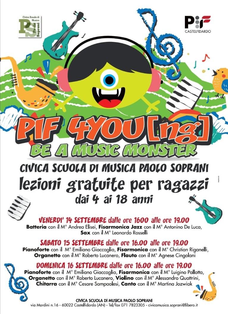 Scuola musica Soprani, lezioni gratuite durante il Pif